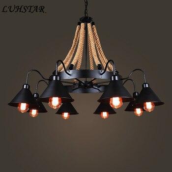 Кантри Ретро железные люстры освещение Ресторан столовая гостиная промышленные винтажные люстры светильники