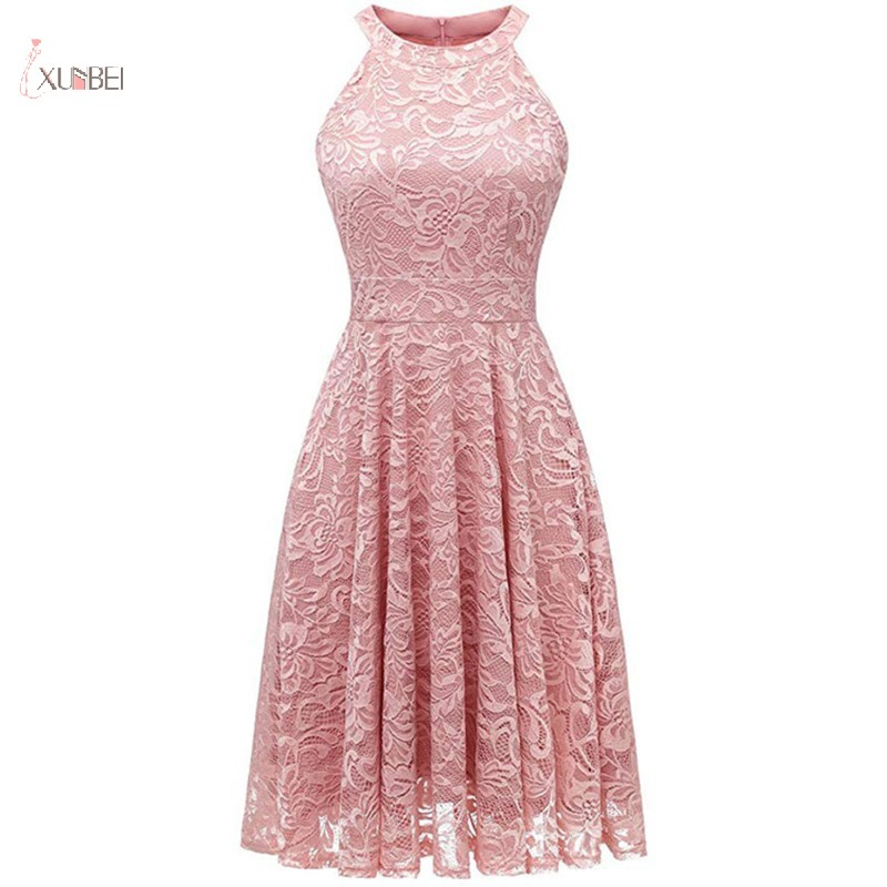 2019 Pink Lace Short   Evening     Dress   Sexy Halter Sleeveless A line Party Gown robe de soiree