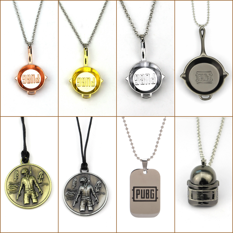 Bamos Cool PUBG Pan Helmet Medal Chain Necklace For Men Women 3 Color Zinc Alloy Jewelry Fashion Necklaces Pendants Best Gift