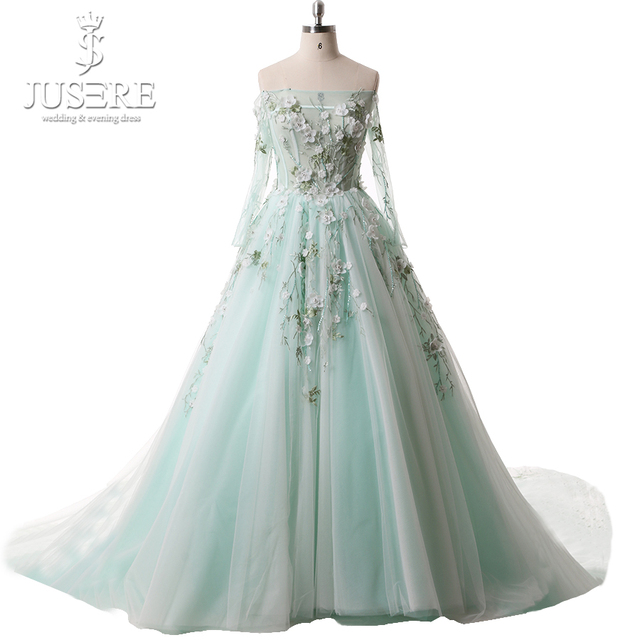 6cb0f63ad1 US $1785.0 |Jusere Mint Off Shoulder Long Sleeves Prom Dresses Illusion  Bodice With Flower Embroidery Evening Dress Real Photos-in Prom Dresses  from ...