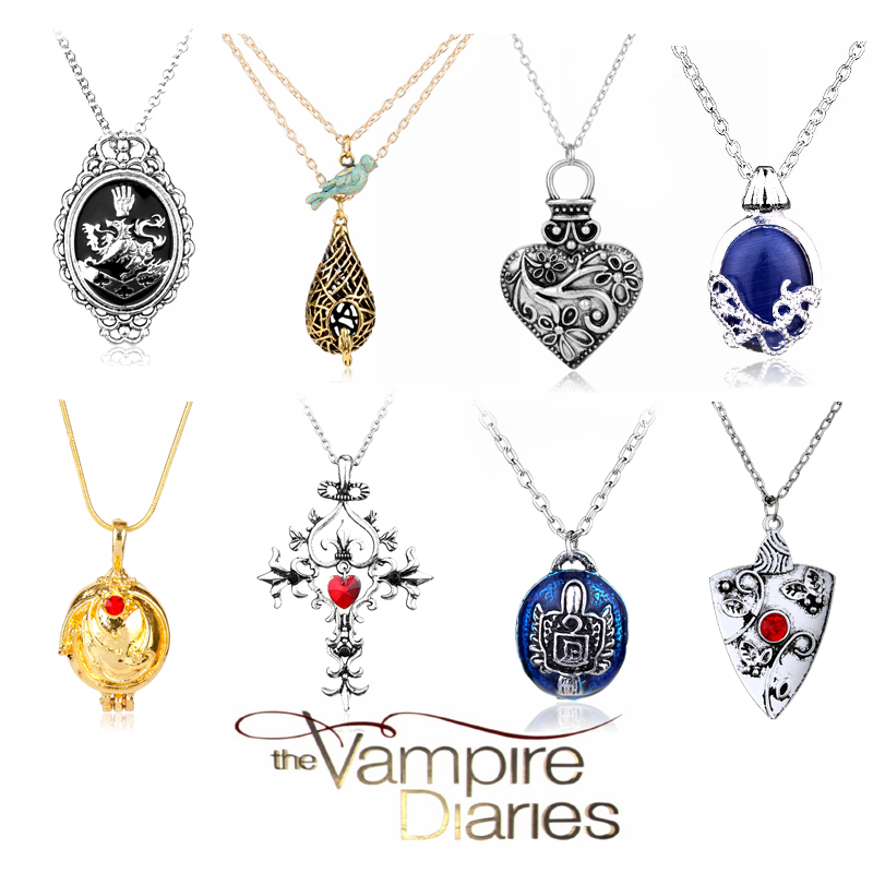 Movie The Vampire Diaries Necklace Elena Gilbert Vervain Romantic Crystal Pendant Necklaces For Women Heart Charm Choker Jewelry