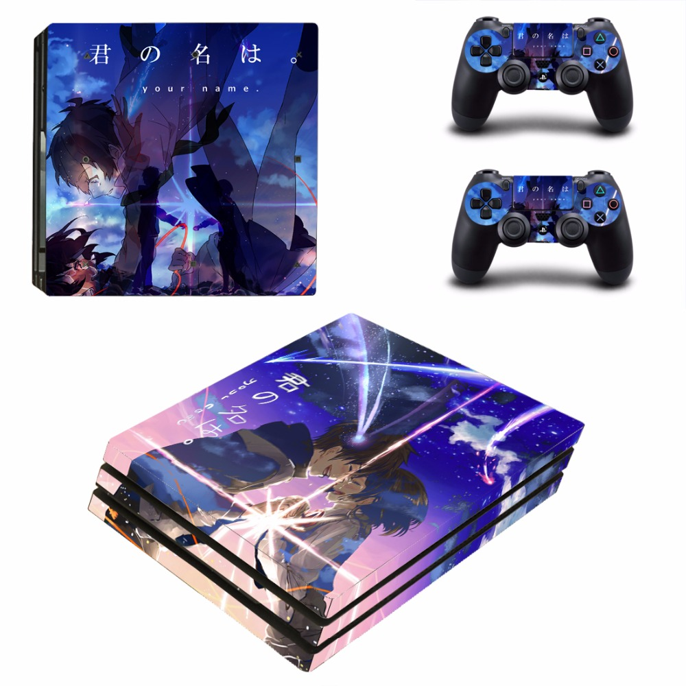Anime Your Name PS4 Pro Skin Sticker For Sony PlayStation 4 Console and 2 Controllers PS4 Pro Skins Stickers Vinyl