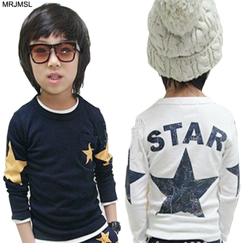 MRJMSL 2017 kids clothes children t-shirts for boys spring autumn long sleeve t shirts star fashions 90~150