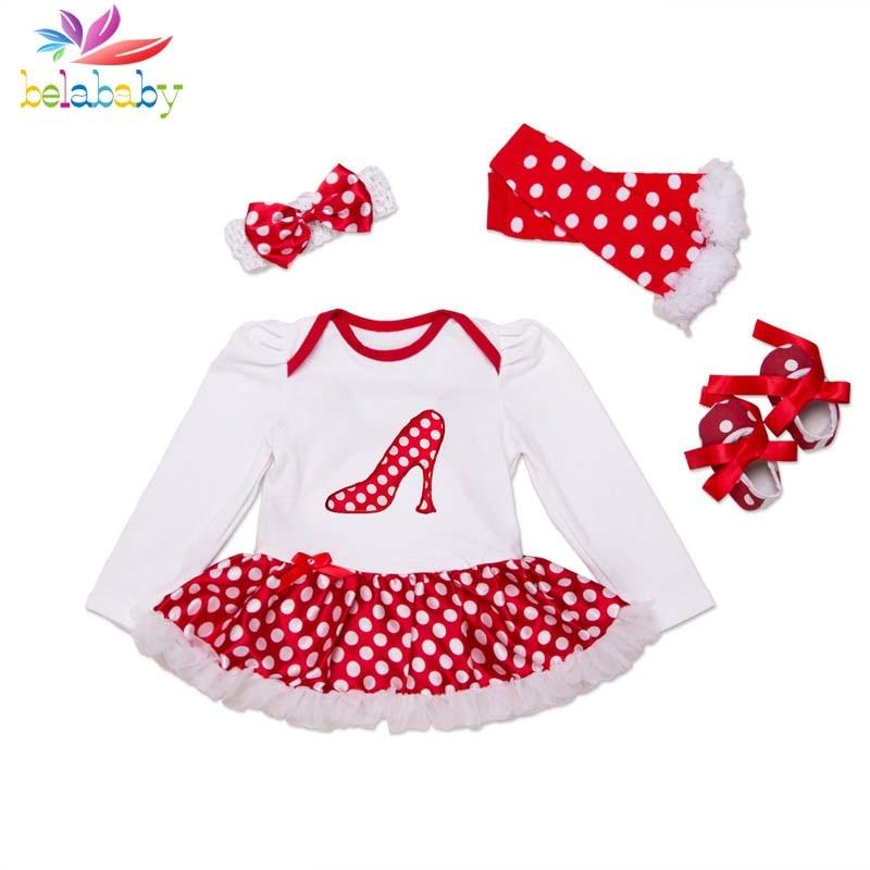 Belababy Princess Girl Clothing Set Newborn Infant Girl Polka Dot TuTu Dress Romper+Shoes+Headwear+Leggings 4PCS Baby Suit