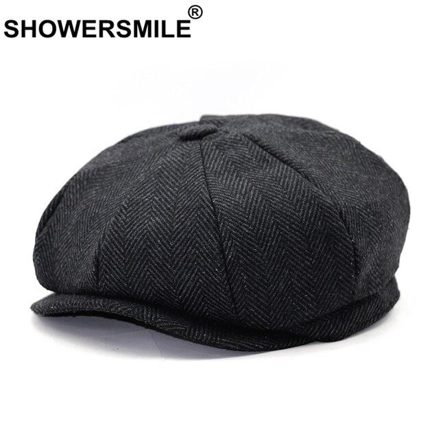 c1df28582f35b SHOWERSMILE Brand Beret Men Women Wool Tweed Hats Grey Newsboy Caps Gatsby  Octagonal Cap Herringbone Vintage British Accessories
