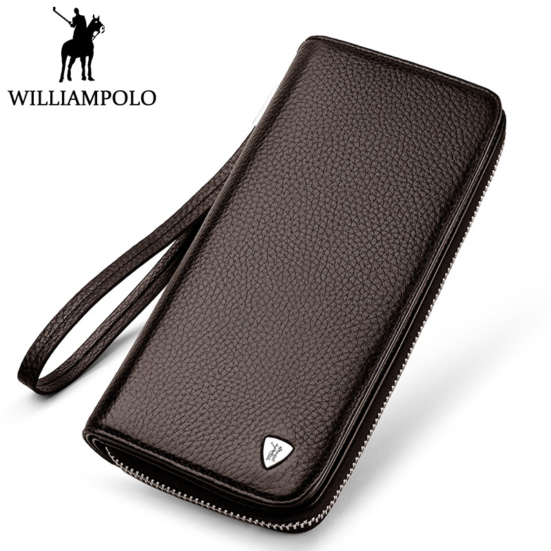 WilliamPOLO Long Wallet Men Genuine Leather Clutch Wallet Fashion Brand Clutches Purse For Male Handy Strap Zipper Design Brown sammons brand new design fashion genuine cow real leather men long zipper clutches cards phone holder wallet