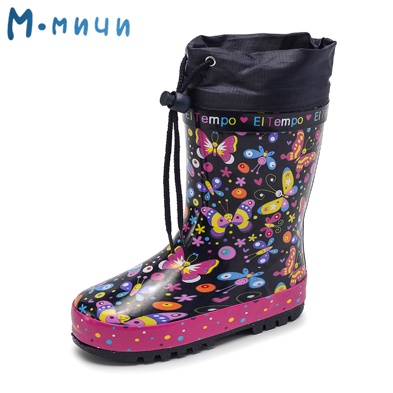 MMNUN 2018 New Rainning Children Rain Boots Warm Rainboots  Girls butterfly Toddler Kids Boots Children's Rubber Shoes kelme 2016 new children sport running shoes football boots synthetic leather broken nail kids skid wearable shoes breathable 49