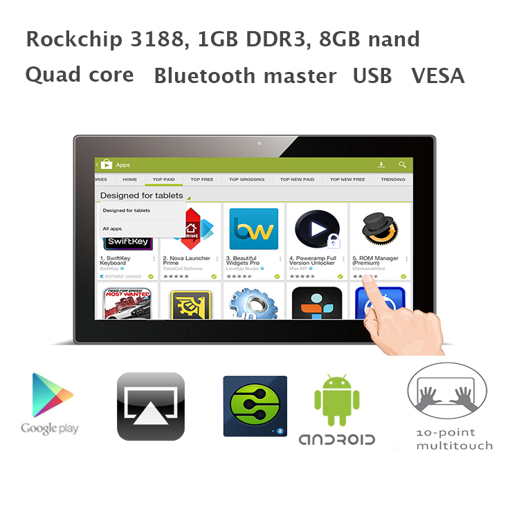 15.6 inch Quad core Android All-in-one desktop pc (RK3188 1GB RAM 8GB nand flash,Bluetooth,VESA,Wall Bracket)