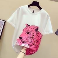 New Fashion Women's Tshirt Fashion Sequins Matching Color Leopard Loose Medium Long T shirt Girls Lady Basic Shirts White Shirt
