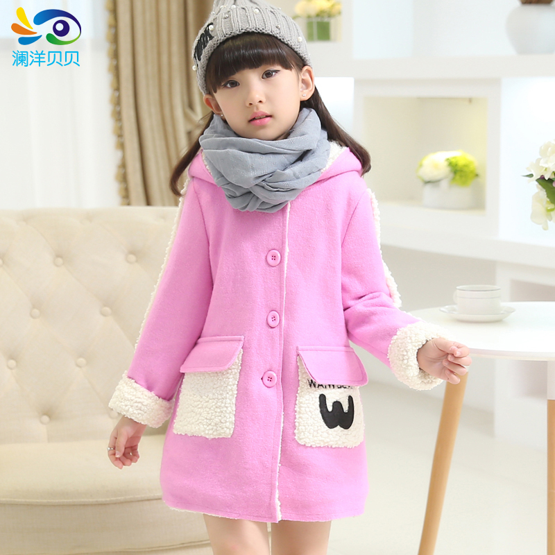 ФОТО Children's clothing female winter child medium-long wool woolen trench outerwear  child thick cotton-padded jacket plus