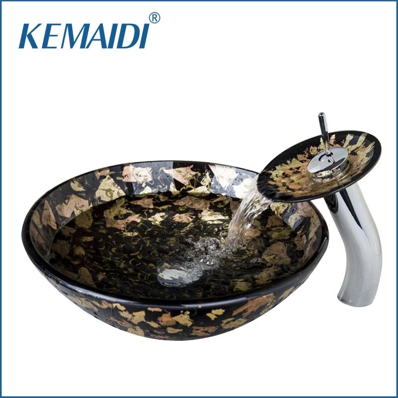 KEMAIDI Single Handle Wash basin Tempered Glass Hand Painted Bowl Tap Lavatory Bathroom Sink Bath Brass