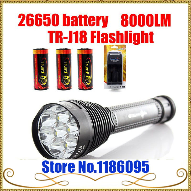 2set Trustfire TR-J18 Flashlight 5 Mode 8000 Lumens 7 X CREE XM-L T6 LED by 18650 or 26650 Battery Waterproof High Power Torch 1pc trustfire tr j18 flashlight 5 mode 8000 lumens 7 x cree xm l t6 led waterproof torch come with 3 18650 battery charger