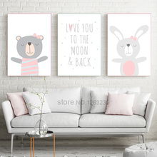 Bear Rabbit Nordic Poster Nursery Wall Pictures For Living Room Cartoon Baby Girl Room Decor Wall Art Canvas Painting Unframed цена и фото