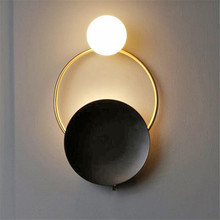 Thrisdar Creative Art LED Wall Lamps Hotel Aisle bedroom bedside Nordic Restaurant Personality Ring Led Lamp