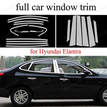 with center pillar full Window Trim Decoration Strip For H-yundai Elantra Accessories Stainless Steel