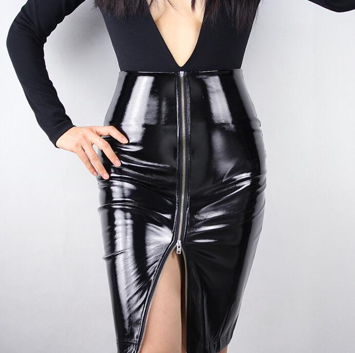 Women's Fashion Slim Sheath Black Faux Leather Skirt Lady's High Waist Sexy Club Dancing Performace Leather Pencil Skirt R607
