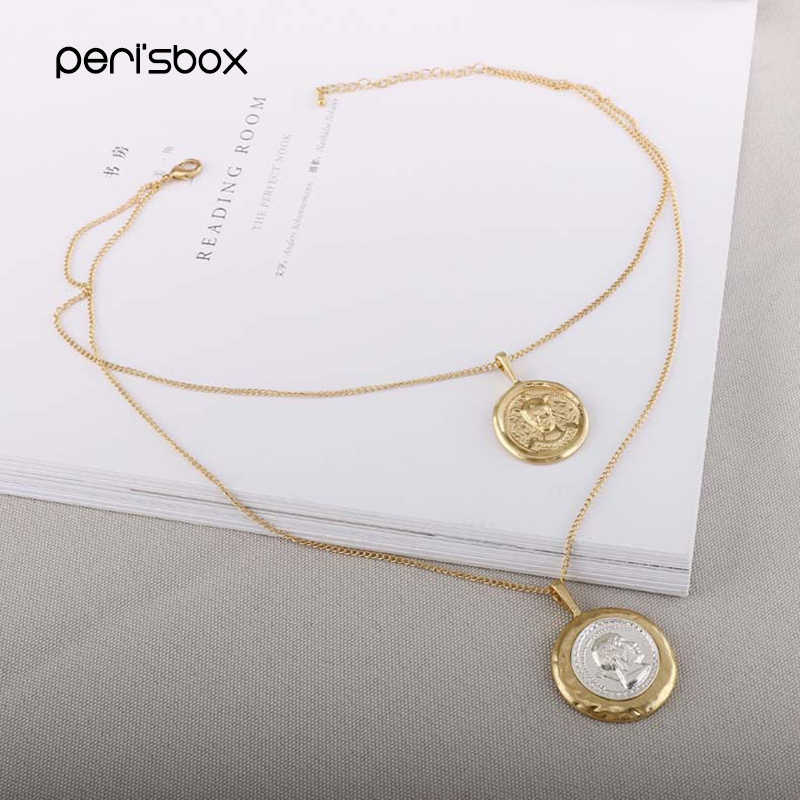 Peri'sBox Gold Sliver Color Double Portrait Chokers Necklaces Coin Disc Layered Pendant Choker Bohemia  Necklaces Femme Jewelry