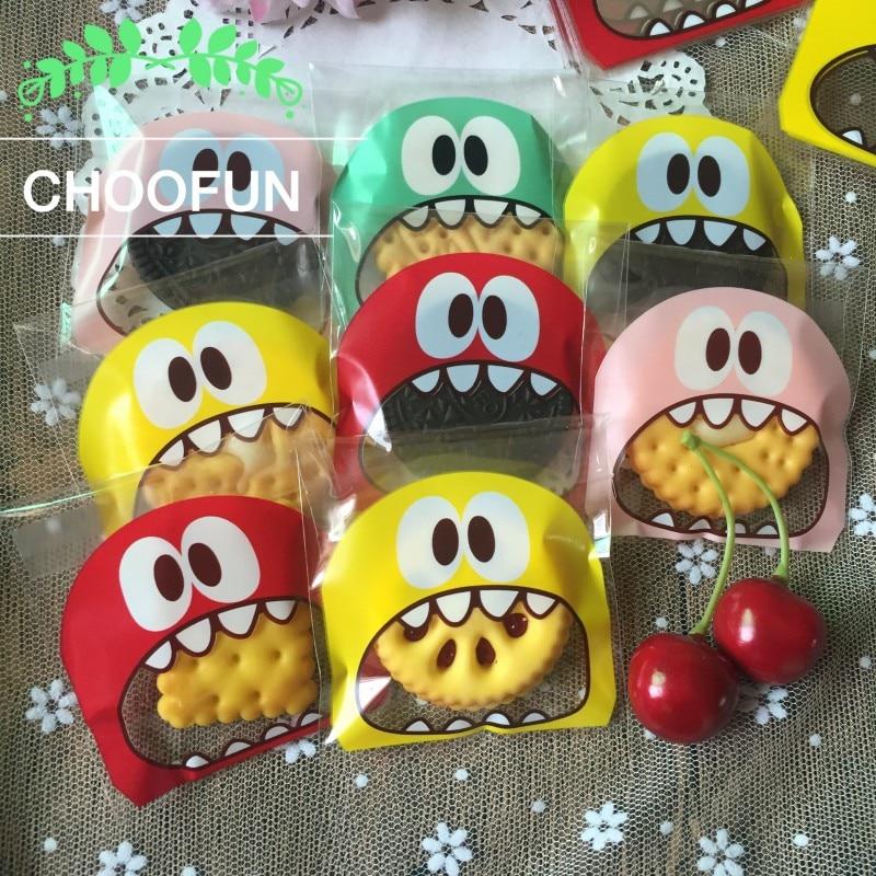 100pcs 7cm 10cm OPP Cute small Monster Sharp teeth Baking Christmas Gift Packaging Bags Wedding Cookie Candy Plastic bag B136