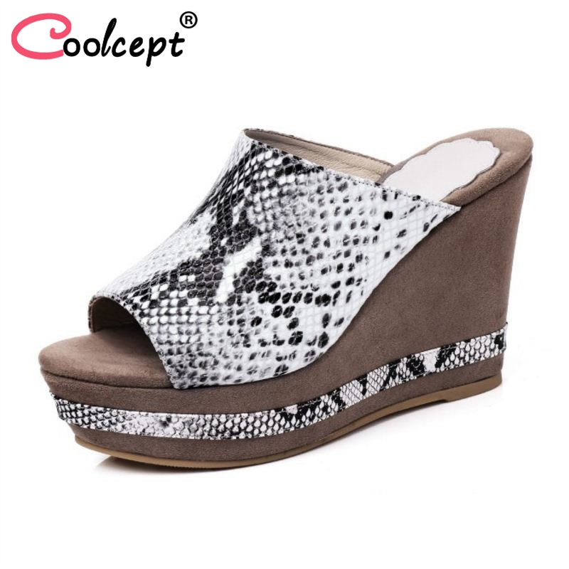 Coolcept Sexy Women Real Genuine Leather High Wedges Sandals Peep Toe Platform Trfile Slippers Brand Quality Shoes Size 34-39 coolcept women high heel sandals platform fashion lady dress sexy slippers heels shoes footwear p3795 eur size 34 43