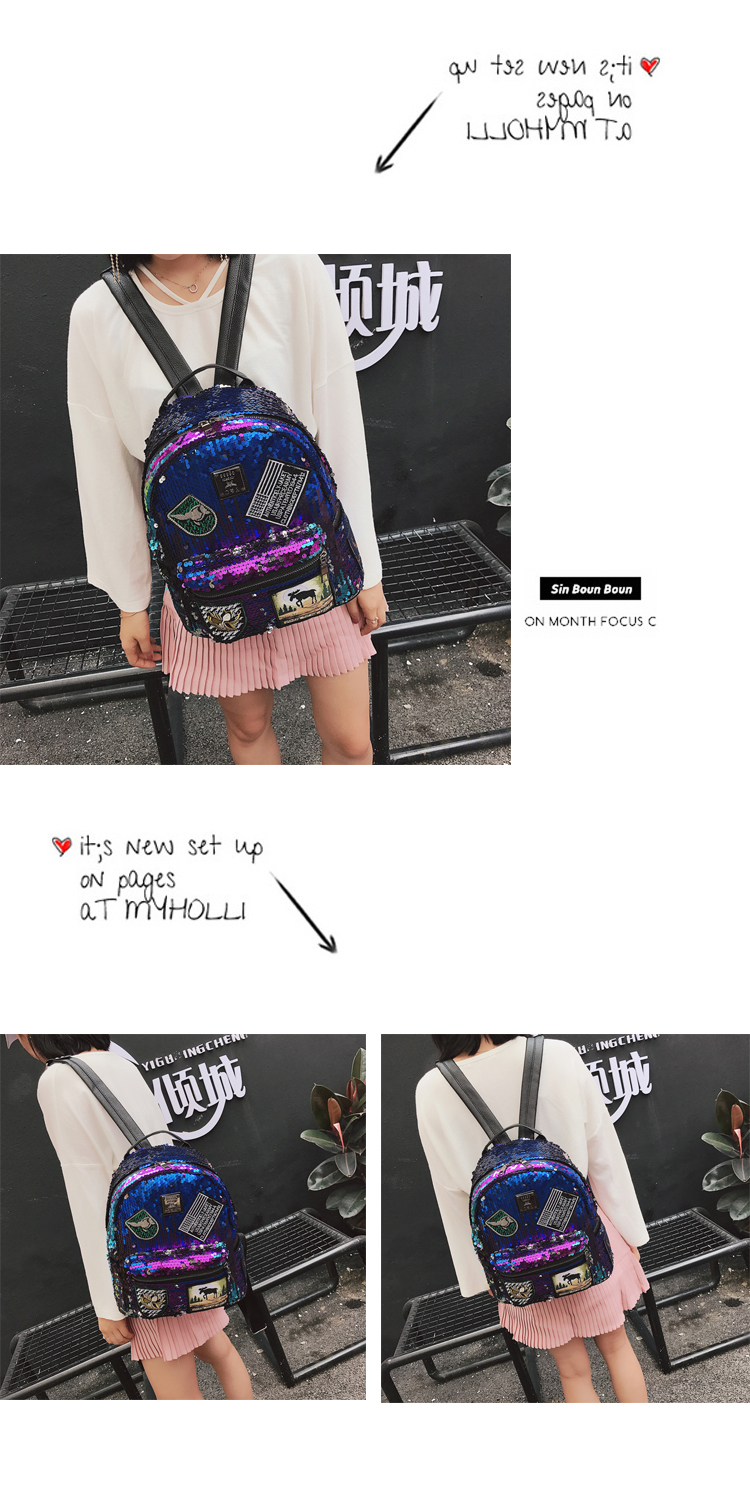 Sequin Backpack Korean version 2018 New Personality Badge Fashion Backpack Wild Casual 8