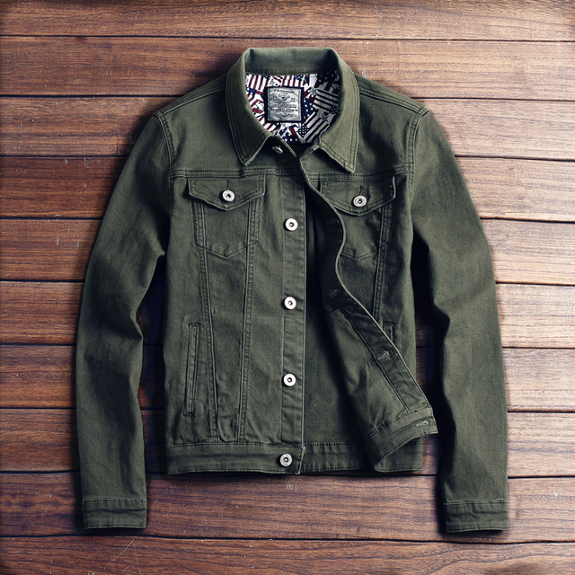 12d3556ed71eb 2018 New hot slim mens jackets and coats casual denim jacket men veste homme  men jeans jacket male khaki black army green red