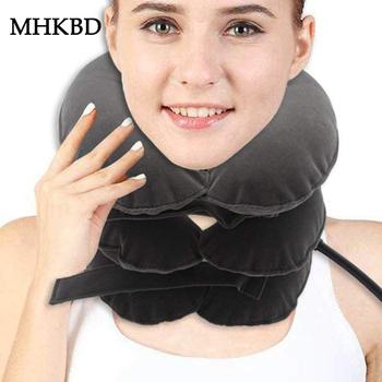 Nadmuchiwana szyja terapia trakcyjna kołnierz szyjny kręg ortopedyczny ręczny masażer relaksacyjny korygujący aparat na szyję tanie i dobre opinie MHKBD AAA+ Flocking cloth and PVC