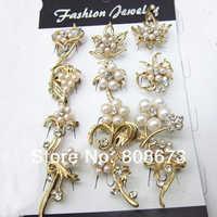 12 style mieszane Crystal & Pearl małe kobiety kołnierz szpilki broszki darmowa wysyłka elegancka biżuteria ślubna akcesoria złoty kolor