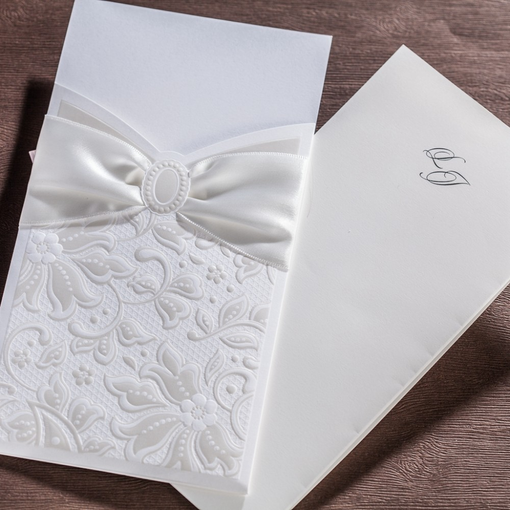 50pcs/lot White Lace Floras Wedding Invitations Card Elegant ...