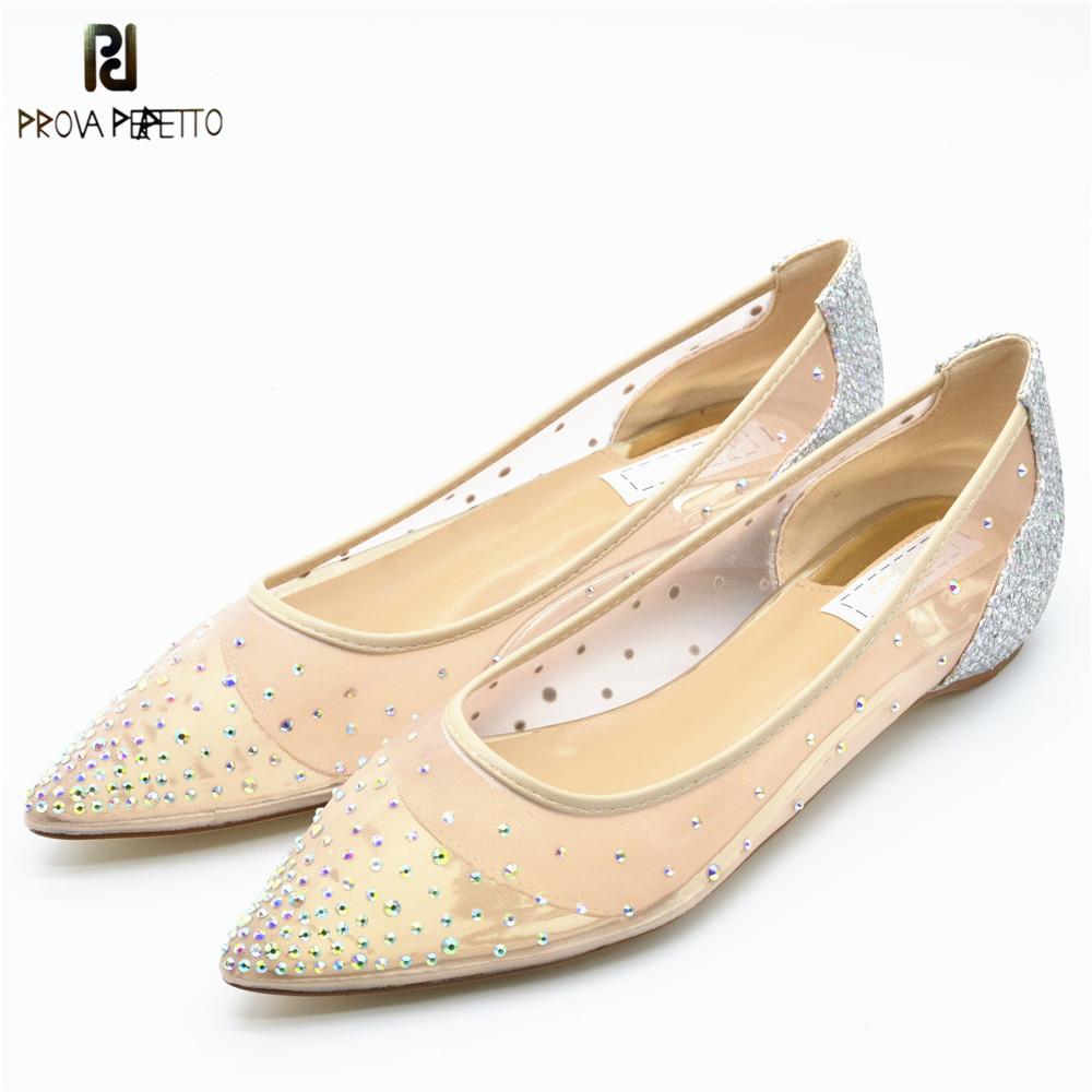 Prova Perfetto Luxury Women Shoes Bling Rhinestone Pointed Toe Flats Mesh Single Shoes Woman Wedding Shoes Slip On Casual Shoes prova perfetto bling bling diamond women casual shoes lace up rhinestone sequine sneakers shoes thick bottom fashion girl shoes