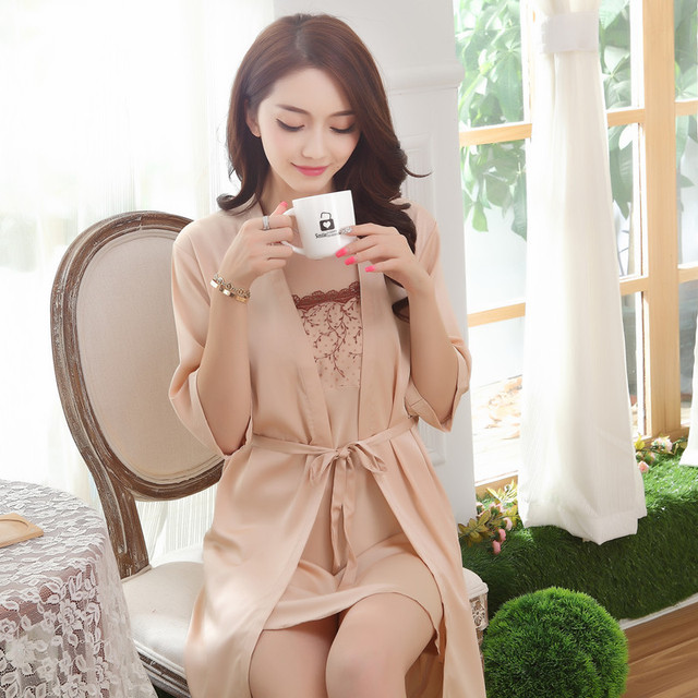cd6ec806e55 2 piece Nightdress Silk Sleepwear Women Pajamas Sets Sleepshirt Home Clothes  Sexy Nightwear Pyjamas Woman pijamas
