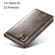 Luxury Brand Genuine Real Leather Wallet Case For Sony Xperia Z5 E6653 E6603 / Z5 Premium E6853 Flip Cover Case Card Holder