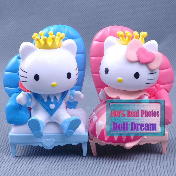 2pcs/lot Cute Kawaii 8cm Japanese anime figure HELLO KITTY Prince & Princess Valentine's Day ver.kids toys for girls best model