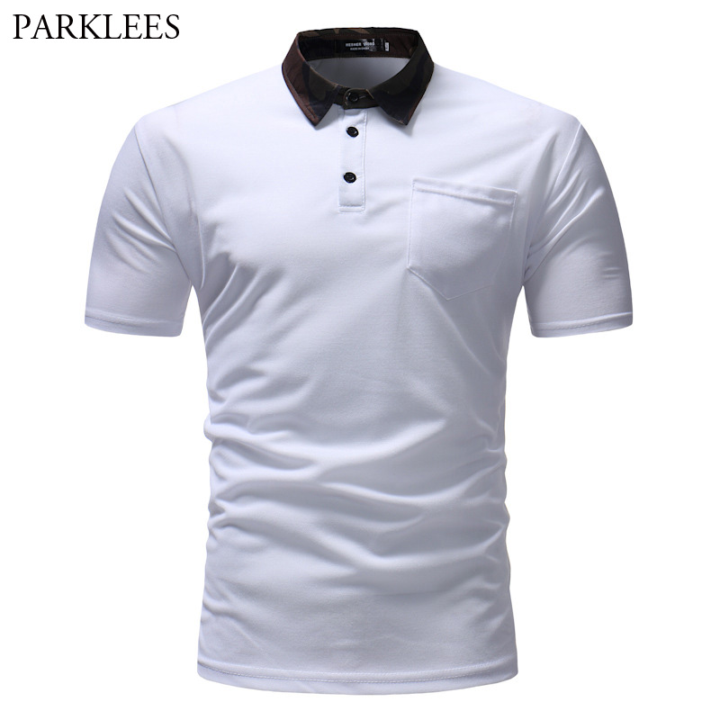Fashion Camouflage Collar   Polo   Shirt Men 2018 Summer New Short Sleeve White   Polo   Homme Casual Breathable Men   Polos   with Pocket