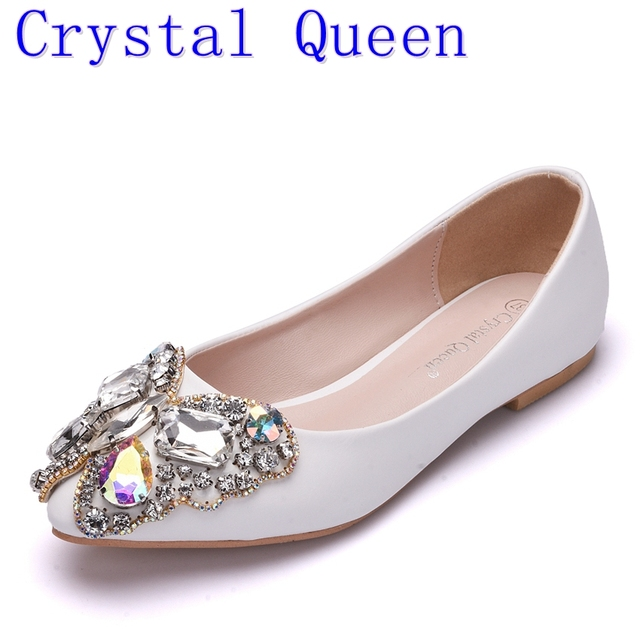 Crystal Queen Bow Rhinestone Flat Shoes Women Diamond Wedding Shoes Bottom  Fashion Pointed Toe Boat Shoes Loafers Lady Shoes 4ab2fb538b79