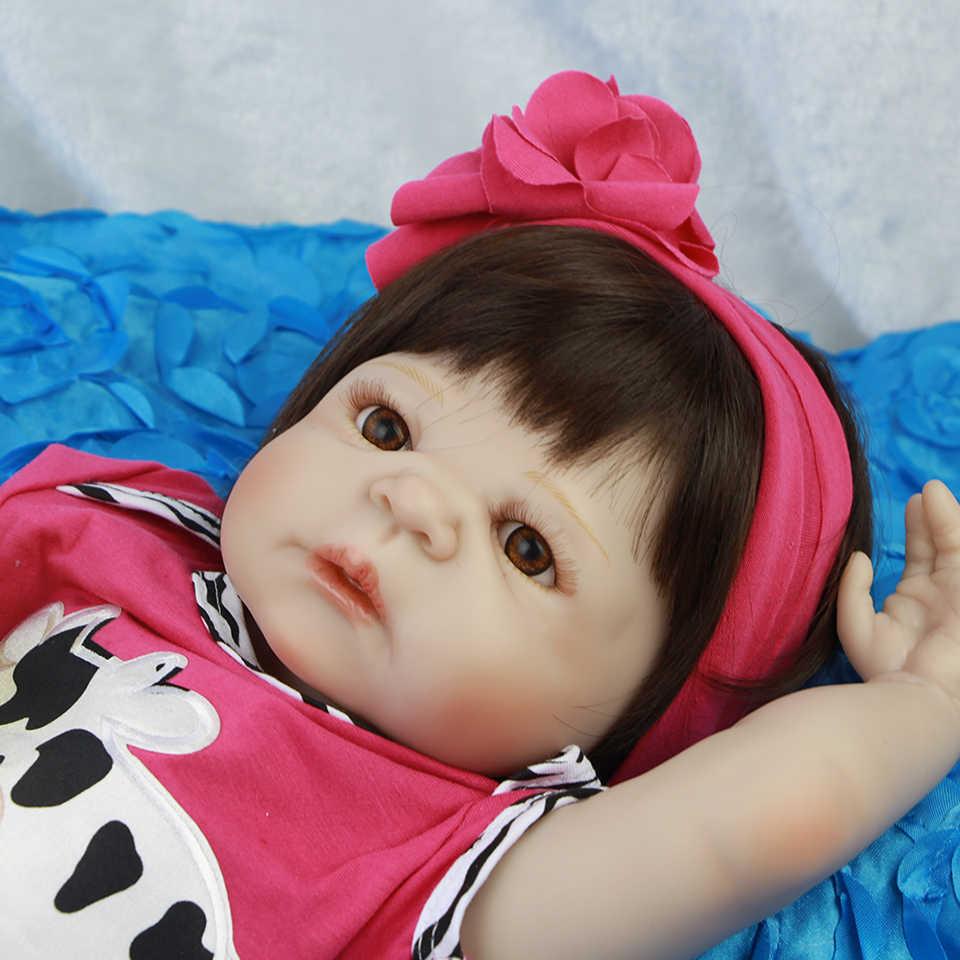 """Новый реалистичный 23 """"Reborn Baby Dolls игрушка полное виниловое тело младенцы кукла для девочки bebe 57 см водонепроницаемые Летние друзья детей Подарки"""