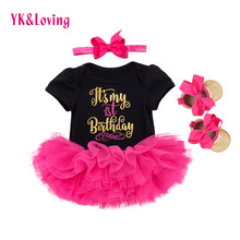 e5390d0b3526 1st Birthday Girl Baby Dress Summer 2018 Cotton Black and White Romper Tutu Dresses  First kids