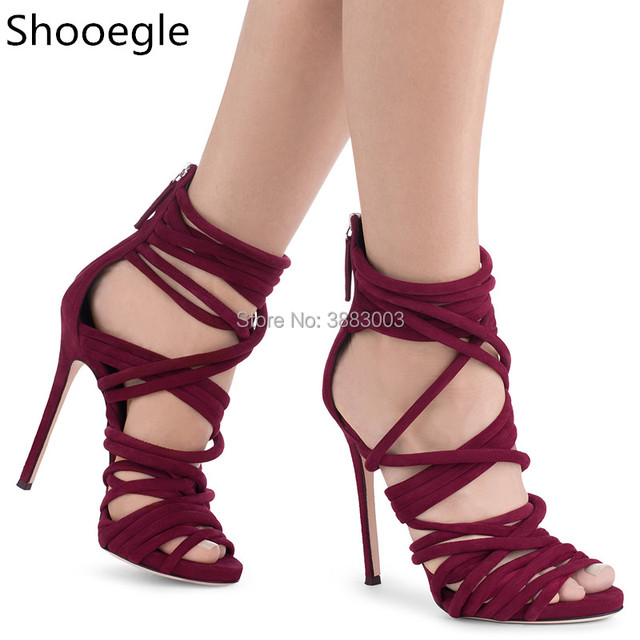 52ec2a860f95 Wine Red Lace Up Thin High Heels Women Gladiator Sandals Peep Toe Ankle  Strappy Back Zip Sandals Summer Shoes Woman