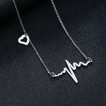 Titanium Steel Wave Heart Necklace Chic ECG Pulse Charm Pendant Necklaces Lightning Women Fashion Jewelry Accessories Wholesale steel pulse steel pulse victims