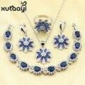 Escuro Azul Criado Sapphire Colar Pingente Pulseiras Brincos Anéis Impecável Cor Conjuntos de Jóias de Prata Para As Mulheres Presente de Natal