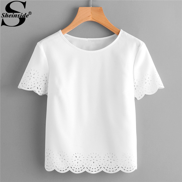 32f8294008c Sheinside 2018 Summer Round Neck Short Sleeve Blouse White Laser Cut  Scallop Hem Plain Top Women