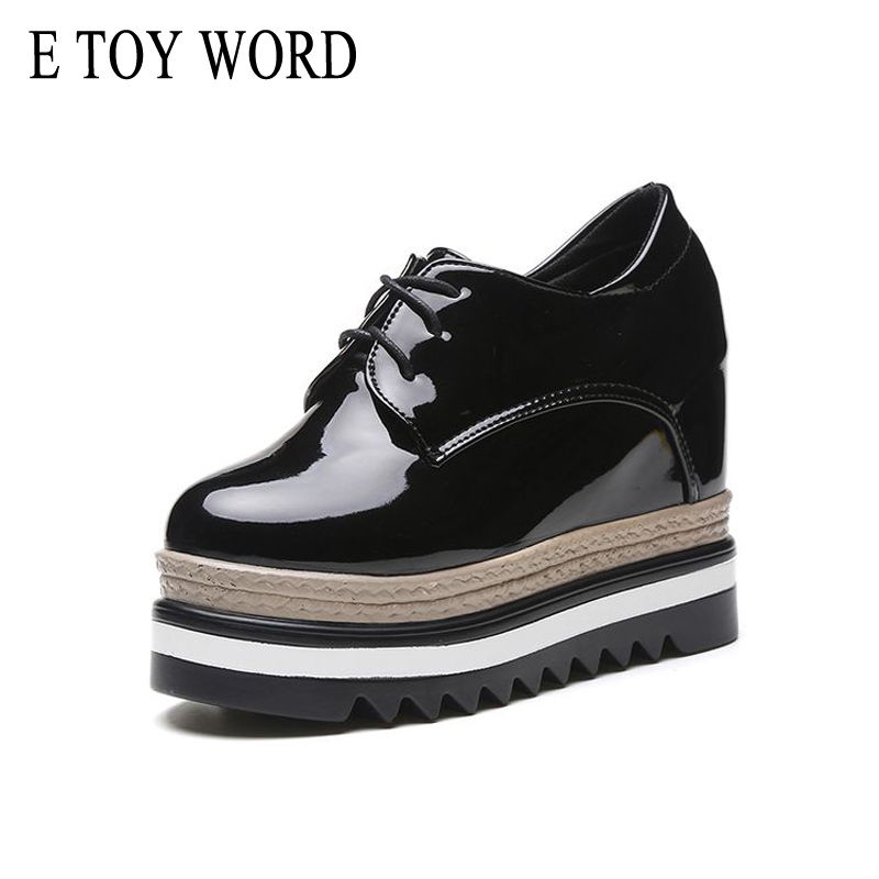 E TOY WORD Spring Autumn Women Shoes Height Increasing 10cm Waterproof Platform Shoes Patent Leather Retro Lace-up Flats Women e toy word canvas shoes women han edition 2017 spring cowboy increased thick soles casual shoes female side zip jeans blue 35 40