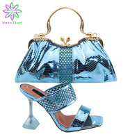 Italian Shoe and Bag Set for Party In Women Nigerian Women Wedding Shoes and Bag Set Decorated with Rhinestone High Heels Pumps