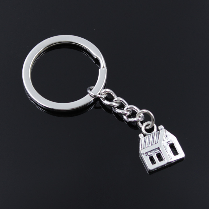 New Fashion Men 30mm Keychain DIY Metal Holder Chain Vintage Cabin House 14x18mm Silver Color Pendant Car Keychain Gift