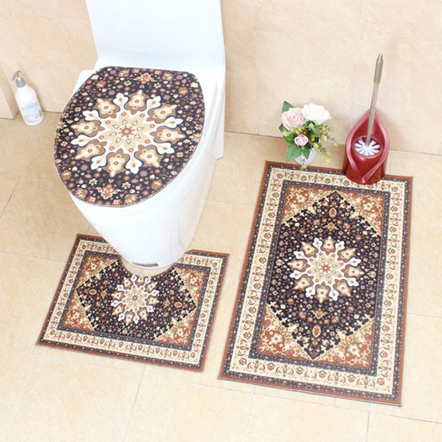 European Retro Style Bathroom Toilet Decoration Non-slip Bath Carpet 3Pcs Bath Mat Set Toilet Cover Absorbent Bath Rug