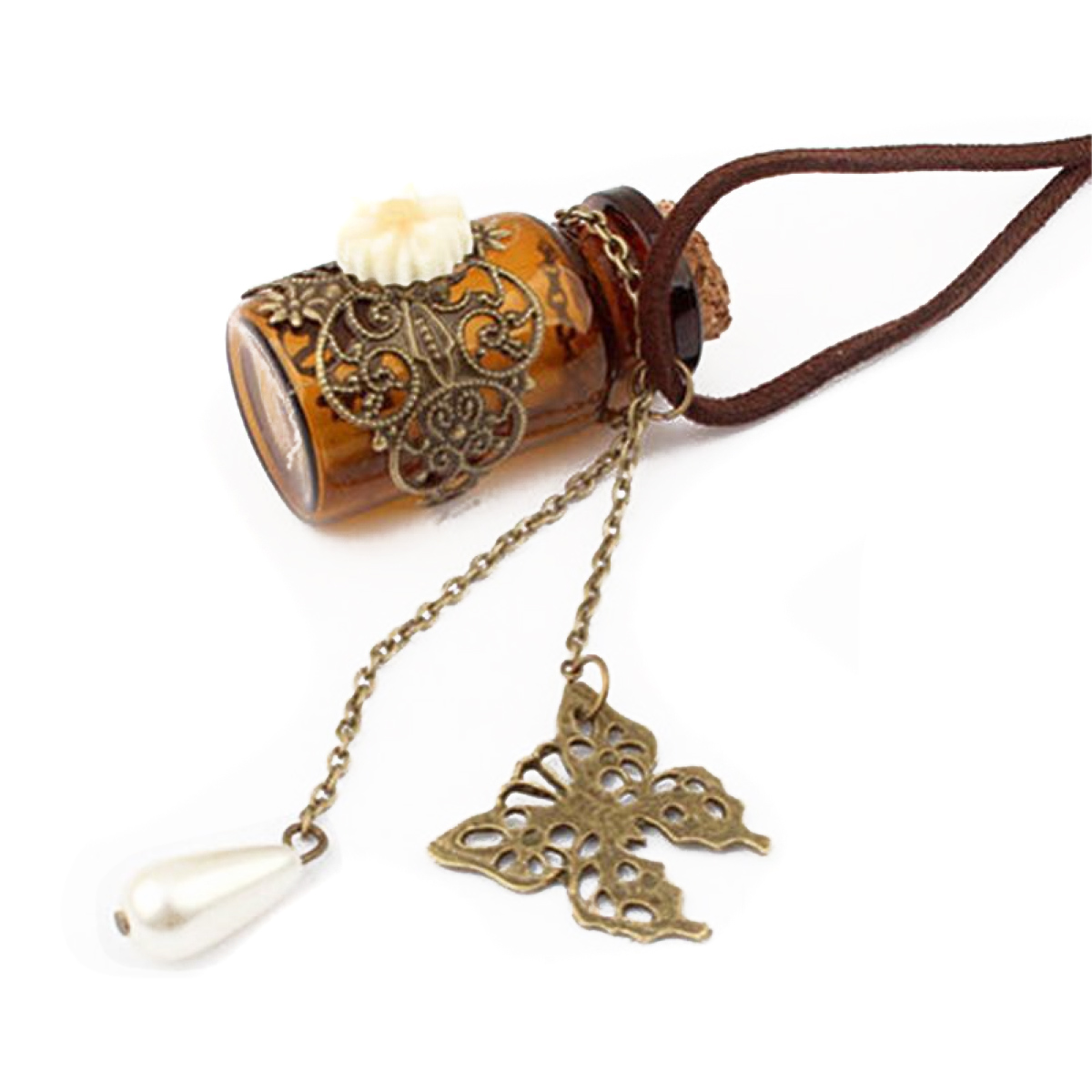 Fashion Glass Wishing Bottle Pendant Necklaces Shellhard Long Leather Rope Butterfly Flower Imitation Pearl Necklace Jewelry