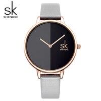 Shengke Creative Women Watches Black Gray Dial Leather Wristwatch Ladies Quartz Watch Reloj Mujer 2018 SK
