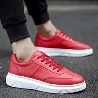 Cool Street Skateboarding Shoes Men Casual Shoes Ins Hot Sale Sneakers Men Shoes 2019 Spring Male Shoes Black Red White KA873