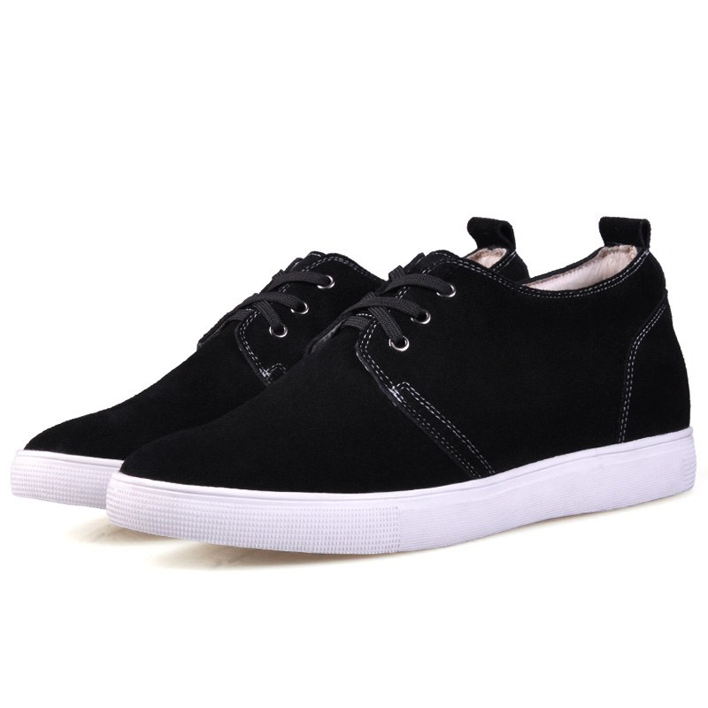 JC162 Black Casual Cow Suede Leather Height Increasing Elevator Shoes with Hidden Insoles Lift Taller 6CM More Colors