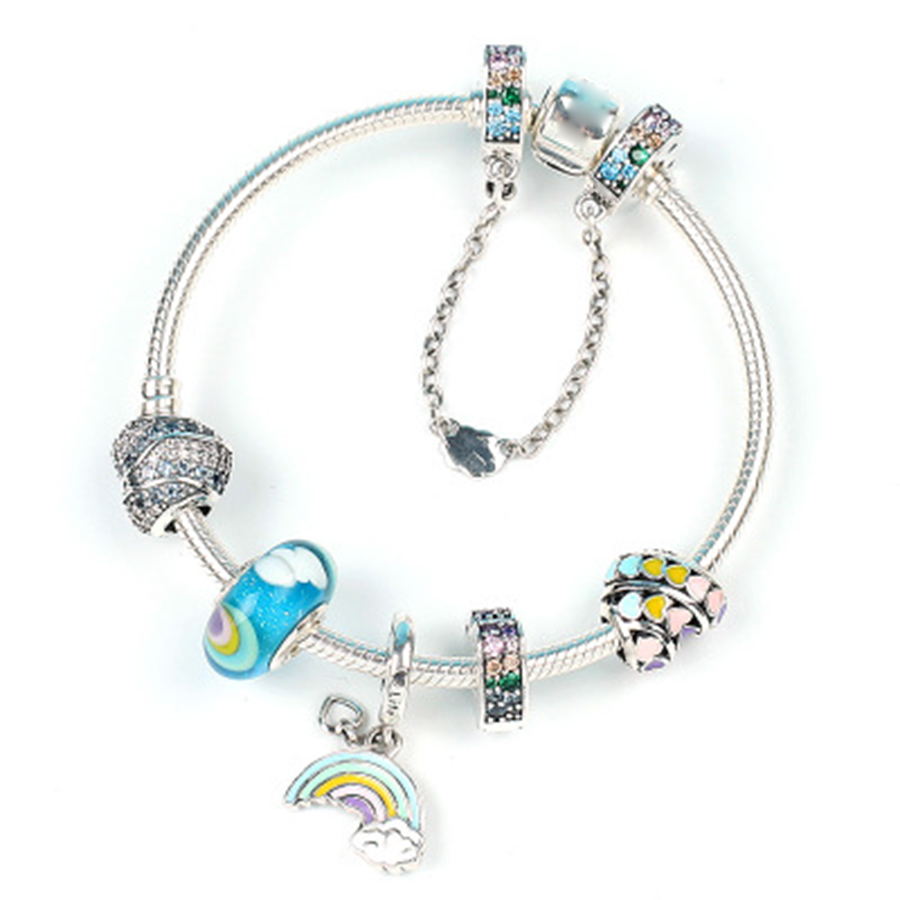 NEW 100% 925 Sterling Silver Genuine New 1:1 Fun Series Love Rainbow Glass Love Arc Ocean Charm Heart Bracelet Set