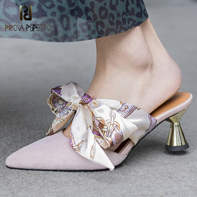Prova Perfetto New Silk Ribbon Bowknot Women Shoes Pointed Toe Strange Heel Mules Shoes Woman Real Leather High Heel Slippers цена 2017
